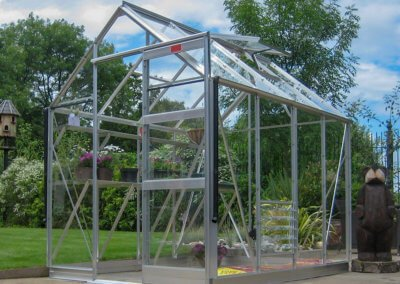HIGH EAVE 8'X6' (NOMINAL), INTEGRAL BASE, ALLOY, FULL SHEET TOUGHENED GLASS